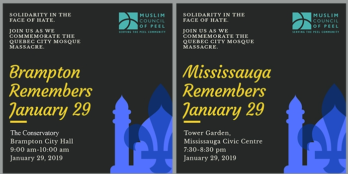 Peel Remembers January 29, Solidarity in the face of hate